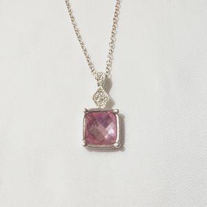 AVON💞 PINK SQUARE DIAMOND NECKLACE
